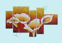 Wholesale Hand Painted Canvas Oil Art - 100% Hand Painted 5 Piece Set Modern White Knife Flower Oil Painting On Canvas Home Wall Decoration Art Picture For Living Room