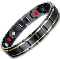 Wholesale Titanium Bracelet Germanium Magnet - 4 in 1 Germanium+magnets+negative ion+far infared Fashion Men's Gold black Plated Bracelet Magnetic Bracelet Jewelry Bracelet For Sale