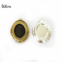 Wholesale Silver Plated Pendant Trays - BoYuTe 10Pcs 6 Colors 22*29MM Locket Pendant Oval 13*18MM Cabochon Base Tray Floating Locket Necklaces Vintage Jewelry Accessories