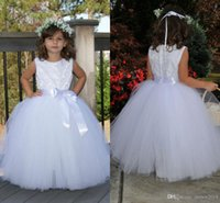 Wholesale Enfant Lace Dresses - Puffy Lace Flower Girl Dresses for Toddlers First Communion Dresses for Girls Tulle Floor Length Enfant Evening Gowns Children Prom Dresses