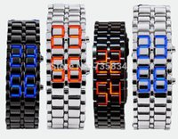 Wholesale Samurai Fashion - Wholesale 50pcs lot Mix 4colors NEW Metal Lava Style LED Iron Samurai Watch Men Women styles fashion classic watches LL001