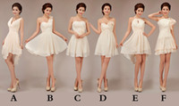 Wholesale Made Order Bridesmaid Dresses - Short Chiffon Junior Bridesmaid Dresses Lace Up 2017 New Light Champagne Ball Gown Bridesmaid Dresses Mixed Order