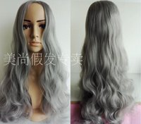 Wholesale Sexy Gray Wigs - New brand smoke gray Synthetic hair long Curly wig sheath 70cm sexy women's cosplay party wigs popular free shipping