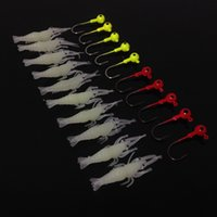Wholesale Shrimp Soft Baits - Fishing Lure Hooks 10pcs Luminous Shrimp Lures Soft Bait + 10pcs 3.5g Jig Head Fishhooks Fishing Hook Pesca Fishing Tackle Accessories