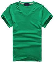 ingrosso v camicie di navi-Trasporto libero Caldo 2016 100% cotone uomo con scollo a V T-Shirt corta uomini di marca camicie stile casual per lo sport uomo T-Shirt taglia S-XXL