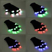 Wholesale Kids Color Glove - Flash Color changing LED Glove Rave light led finger light gloves light up glove For Party favor music concert free shipping