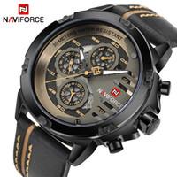 Wholesale Waterproof Watch 24 Hours - NAVIFORCE Mens Watches Top Brand Luxury Waterproof 24 hour Date Quartz Watch Man Leather Sport Wrist Watch Men Waterproof Clock