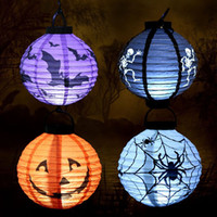 LED Halloween Pumpkin Lights Lampe Lanterne à papier Spiders Bats Skull Pattern Décoration Fournitures Bulbes Ballons Lampes pour enfants Festival Vente