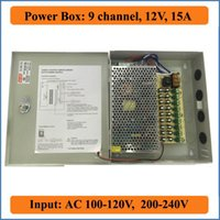 Wholesale cctv box ip camera - 9 Port DC12V 15A CCTV Camera Power Box Switching Power Suply BOX for Security IP Camera 9CH channel AC 100-240V to DC 12V Output