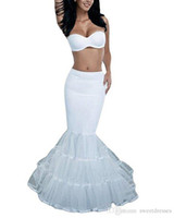 Wholesale Cheap Wedding Dress Petticoats - White Mermaid Bridal Crinoline Wedding Petticoat Slip Ruffle UnderSkirt Fishtail Petticoat for Special Occasion Dress In Stock Cheap