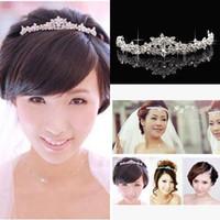 balo için gümüş saç aksesuarları toptan satış-2020 Bling Ucuz Gümüş Kırmızı Düğün Aksesuarları Gelin Tiaras Kristal Rhinestone Saç Bantları Prom jewelrys Kadınlar Saç Takı Taçlar Kafa