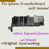 Wholesale Iphone Mainboard Replacement Part - Wholesale-For Iphone 5S Motherboard Mainboard Without fingerprint 64GB 100% Original Unlocked Logic Board Parts Replacement