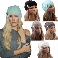 Wholesale Spring Lace Hats - 2016 New Knitted Hat Gorros Women Hat Leaves Lace brim Button Wool Warm Hats Beret Hedging Cap Winter Hat Women Beanie Caps DHL FREE