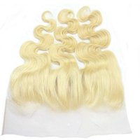 Wholesale Curly European Color 613 - Brazilian Blonde 13x4 Ear To Ear Lace Frontal Closure Bleached Knots 9A #613 Blonde Body Wave Full Lace Frontals With Baby Hair