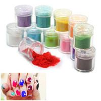 Wholesale Nails Different Powders - Wholesale- 12 Pots Different Colors 3D Nail Art Velvet Flocking Powder Manicure Decoration
