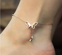 Wholesale Christmas Ornaments Sports - New Pattern European Temperament Butterfly Double Drill Tassels Anklet Bracelet Rose Gold Korea Ornaments Origami Owl Tibetan Jewelry Women