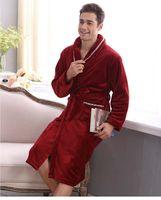 Wholesale Thickening Coral Fleece - Wholesale-Autumn and winter coral fleece velvet bathrobe robe thickening flannel robe bathrobes men lounge sleepwear bathrobes male