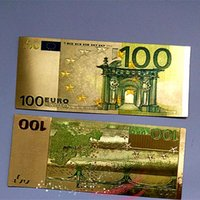Wholesale Hot Foil Type - Hot Sales New Coloured 24K Gold Foil Euros 100 Banknotes Commemorative Money Creative Gifts Collections Arts Home Decoration Crafts