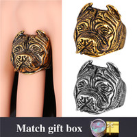 Wholesale French Gold Jewelry - U7 French Bulldog Punk Ring Men Trendy Fashion Jewelry 18K Real Gold Plated Stainless Steel Ring For Men Jewelry GR1615