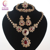 Wholesale Crystal Ball Necklace Champagne - Fashion African Beads Jewelry Sets Champagne Rhinestone Ball Necklace Earrings Bracelet Ring Women Wedding Party Jewelry Sets