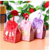 Wholesale Cheap Red Candy - 2016 Cheap Wedding Candy Boxes Favor Holders Red Pink Silk ribbon Papery 100 Pecs Lot Special Wedding Party Favors For Wedding Gust Gifts