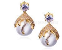 Wholesale Pearl Diamond Earings - wonderful natural pearl crystal lady earings 1688 bwer