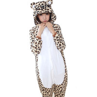 Wholesale Men Leopard Sleepwear - Leopard Bear Unisex Adults Flannel Hooded Pajamas Cosplay Cartoon Animal Onesies Sleepwear For Men Women