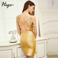 Wholesale Xxs Backless Dress - Wholesale-HEGO 2016 New Gold Foil Print Deep V Halter Hollow Out Bodycon Bandage Dress Backless Sexy Costumes