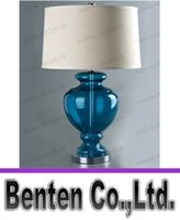 Wholesale Mediterranean Bedside Lamps - Modern Mediterranean Style Blue Color Bedroom Glass Table Lamps Lights Bedside Standard Desk Lighting LLFA