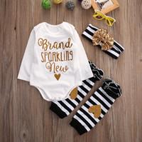 Wholesale Long Sleeve Newborn Girls Bodysuits - Wholesale- Newborn Baby Girls Clothes Set Long Sleeve Bodysuits Sparkling Tops Striped Leg Warmer Outfits Xmas Clothing
