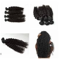 weave hair online al por mayor-Brasileño rizado profundo 3pcs / lot 100% rizado Fábrica de cabello humano vendiendo armadura de pelo barata en línea G-EASY