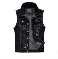 Wholesale Black Waistcoat Lapels - Denim Vest Mens Jackets Sleeveless Fashion Washed Jeans Waistcoat Mens Tank Top Cowboy Male Ripped Jacket High quality fashion Free shipping
