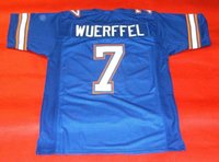 Compra Florida-Cheap retrò # 7 DANNY WUERFFEL CUSTOM FLORIDA GATORS JERSEY HEISMAN bule Mens cuciture Throwback Taglia S-5XL maglie da calcio