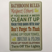 Wholesale decor chic resale online - Bathroom Rules Retro Vintage Metal Tin sign poster for Man Cave Garage shabby chic wall sticker Cafe Bar home decor
