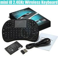 teclado riu mini i8 bluetooth venda por atacado-Mini i8 Teclado Sem Fio 2.4G RII bateria recarregável Touchpad Controle Remoto bluetooth Fly Mouse Pad PC Caixa de TV Andriod Xbox360 PS3 DHL