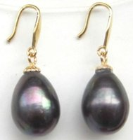 Wholesale Real Gold Earrings 14k - real rare AAA+ 11x13mm BLACK Tahitian natural Pearl Dangle Earring 14K