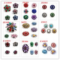 Atacado Mix Style Crystal Flower 18mm Metal Snap Button para Bracelet Bangle Relógios Mulheres Fashion DIY Jewelry