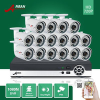 Wholesale 16ch Dvr Cctv - ANRAN Plug and Play P2P 16CH HD 1080N HDMI AHD DVR 720P 1800TVL CCTV Outdoor Waterproof 36IR Day Night Home Surveillance Security Camera Kit