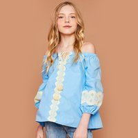 Summer Big Girls Top T-shirt Lace Edge Off Shoulder Sweet Girl Camicie Fashion Girl Clothes Top Cotton Bow Cintura con fiocco Bianco Blu A7752