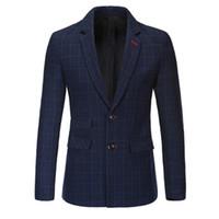 Wholesale mens suites - Wholesale- New Slim Fit Casual jacket Cotton Men Blazer Jacket Single Button Gray Mens Suit Jacket 2016 Autumn Coat Male Suite