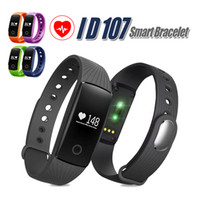 Wholesale Purple Metal Watch - ID 107 For Iphone X Smart Band Smart Watch Bluetooth Smart WristBands Bracelet With Metal Button Heart Rate Monitor With Package