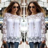 Wholesale Black Designer Blouses - spring Autumn Women'S White Blouses Cotton Blend Designer Ladies Shirts Long Sleeve Hollow Floral Vintage Clothing
