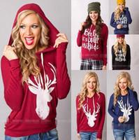Wholesale Long Christmas Jumpers - Christmas Jackets Letter Hoodies Women Casual Coat Long Sleeve Sweatshirts Hot Blouses Pullover Outwear Jumper 100pcs OOA3034