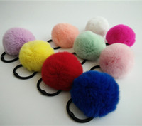 Wholesale Elastic Hair Bands Ball - Real Rabbit Fur Cute Round Pom Ball Furry Rex Rabbit Fur Ball Girl 'S Lovely Headwear Ropes Kids Accessories Elastic Hair Bands