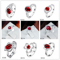 Wholesale Red Leaves Plant - Leaves Flower red gemstone 925 silver ring GTGR3,high grade sterling silver ring 10 pieces mixed style