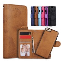 Wholesale Magnet Phone Cases - For iphone 7 Plus 2in1 Magnet Detachable Removable Shockproof TPU Wallet Leather Phone cases Cover For 6 6S Galaxy S7 S8 edge
