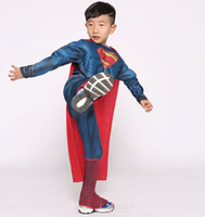 Wholesale Deluxe Costume For Kids - ostumes for children boys Cosplay Kids Deluxe Muscle Christmas Superman Halloween Costume for children boys kids superhero movie man of s...