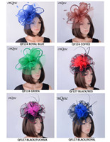 Wholesale Satin Church Hats - NEW Design sinamay crin fascinator hat with Feathers,satin loops and organza flower for kentucky derby,wedding,church,races,party
