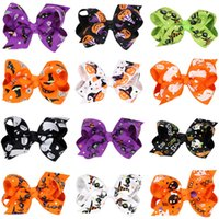 Wholesale Hairbows Character - wholesale 20pcs lot Flower pumpkin hairbows Barrettes girls hairclip Boutique Bowknot Hairpins hair accessories halloween gift Free Shippng