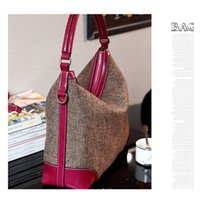 Wholesale Cowhide Tote Handbags - Real Genuine Leather Women Handbag Hobo Shoulder Bags Linen Fabric Messenger Bag Cowhide High Quality
